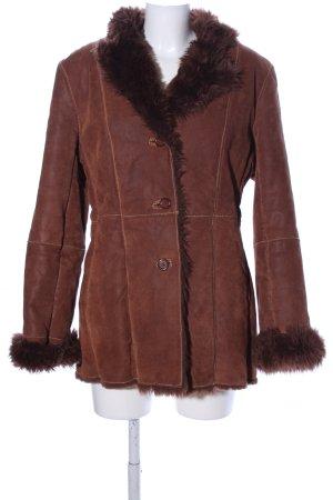 Biba Abrigo de cuero marrón look casual