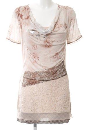 Biba Haut long blanc cassé-brun motif de fleur style décontracté