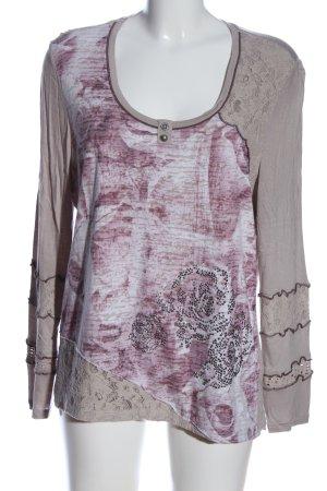 Biba Manica lunga rosa-grigio chiaro motivo astratto stile casual