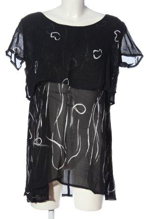 BIBA pariscop Bluzka z krótkim rękawem czarny-biały W stylu casual