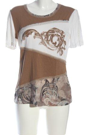 Biba Camicia fantasia bianco-marrone modello misto stile casual