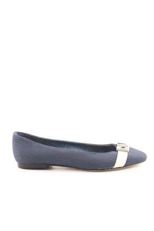 Biba Riemchen Ballerinas blau-weiß Streifenmuster Business-Look
