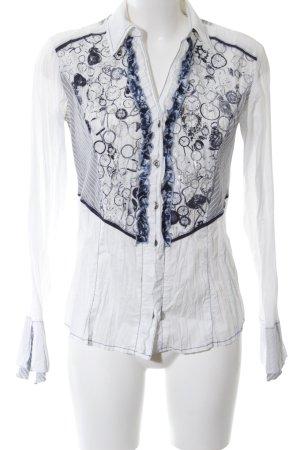 Biba Rüschen-Bluse weiß-blau Motivdruck Casual-Look