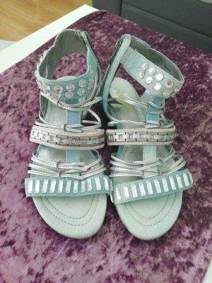 Biba Sandalen met bandjes en hoge hakken zilver-lichtblauw