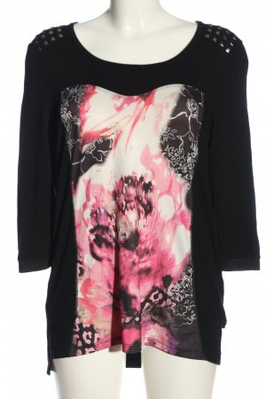Biba Schlupf-Bluse schwarz-pink Motivdruck Casual-Look