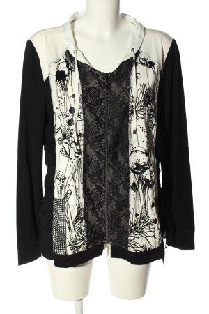 Biba Shirtjack zwart-wolwit bloemenprint casual uitstraling