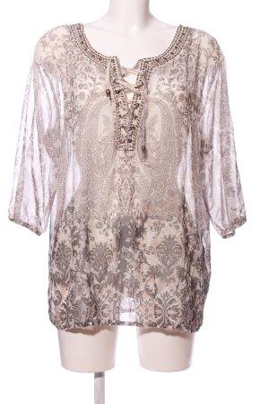 Biba Camicia a tunica crema-grigio chiaro stampa integrale stile casual