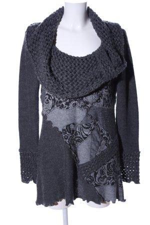 Biba Knitted Sweater light grey flower pattern casual look