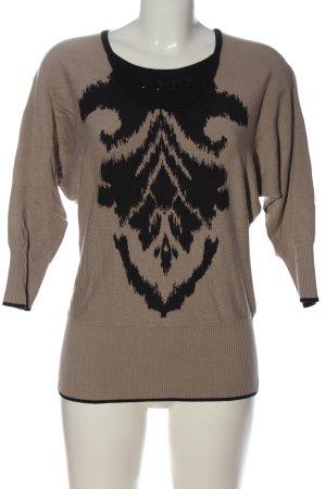 Biba Strickpullover braun-schwarz abstraktes Muster Casual-Look