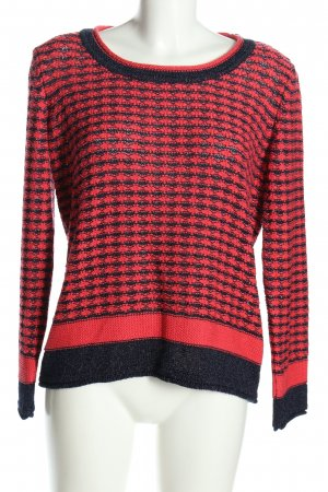 Biba Maglione lavorato a maglia nero-rosso stampa integrale stile casual