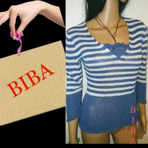 Biba Pull tricoté blanc-bleu tissu mixte