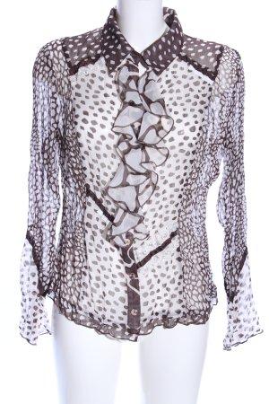 Biba Transparenz-Bluse braun-weiß Animalmuster extravaganter Stil