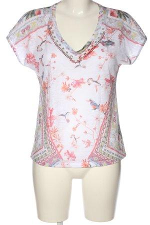 Biba Maglia con scollo a V bianco-rosa stampa integrale stile casual