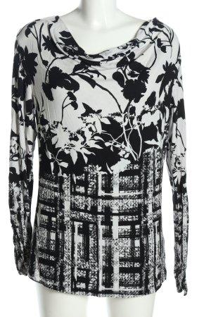 Biba Maglia con scollo a cappuccio nero-bianco motivo astratto stile casual
