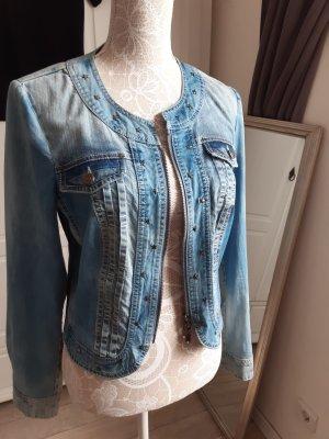 Biba Denim Jacket steel blue mixture fibre