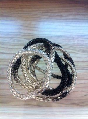 Bicolor Armband Armreifen 7 Stück in einem * schwarz / silber * NEU
