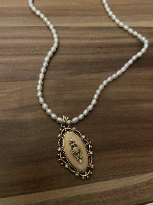 Collar de perlas color oro-blanco