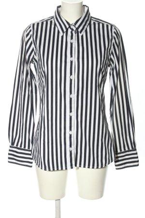 bien bleu Chemise à manches longues noir-blanc motif rayé style décontracté