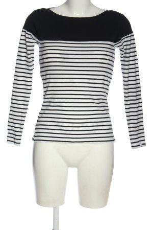 bien bleu Stripe Shirt black-white striped pattern casual look
