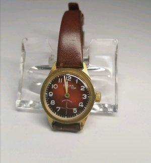 Bifora Montre avec bracelet en cuir doré-rouge foncé