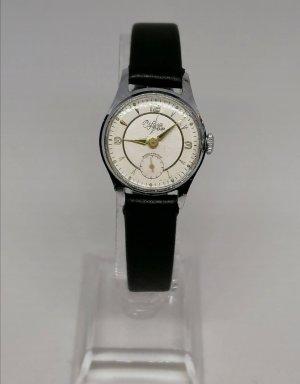 Bifora Reloj con pulsera de cuero negro-color plata