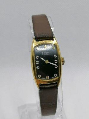 Bifora Zegarek ze skórzanym paskiem brąz-złoto