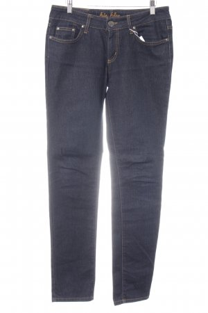 Big Blue Tube Jeans dark blue Logo application (leather)
