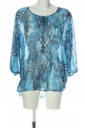 Big & Chic Bluzka z długim rękawem czarny-niebieski Abstrakcyjny wzór