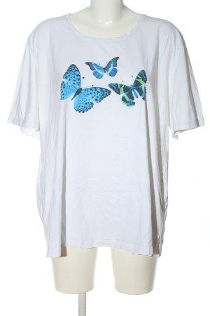 Big & Chic Koszulka z nadrukiem biały-niebieski Nadruk z motywem W stylu casual