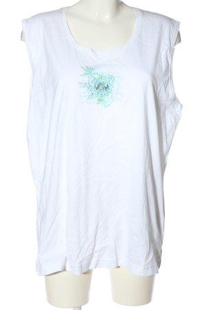 big fun Haut basique blanc-turquoise imprimé avec thème style décontracté