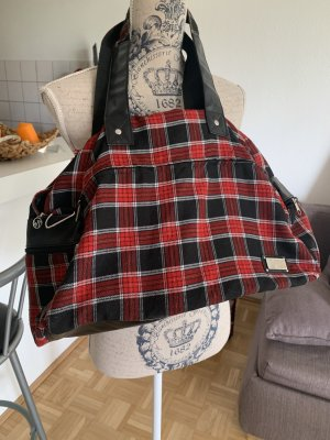 Big! Geräumige Handtasche - Karo - Black/Red - Rockig!
