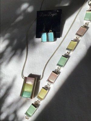 Bijou Brigitte Armband Halskette Ohrringe Ohrstecker Set Sorbet Pastellfarben rose blau hellgelb Eiscreme - Versandkostenfrei