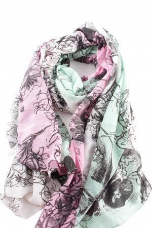 Bijou Brigitte Summer Scarf green-pink mixed pattern casual look
