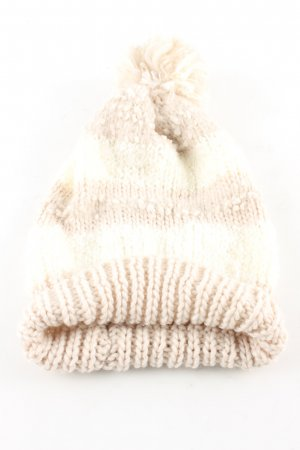 Bijou Brigitte Knitted Hat cream-nude striped pattern casual look