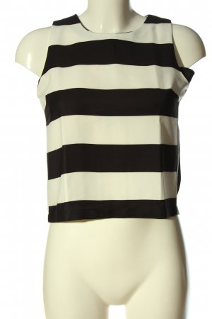 Bik Bok Mouwloze blouse wolwit-zwart gestreept patroon casual uitstraling