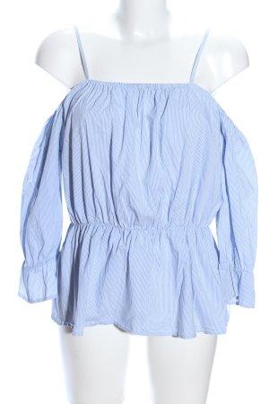 Bik Bok Carmen-Bluse blau-weiß Allover-Druck Casual-Look