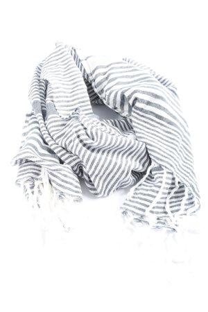 Bik Bok Sjaal met franjes blauw-wit gestreept patroon casual uitstraling