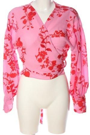 Bik Bok Wikkelblouse roze-rood volledige print zakelijke stijl