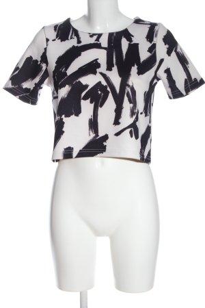 Bikbok Cropped shirt wit-zwart abstract patroon casual uitstraling