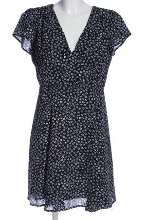 Bikbok Sukienka z krótkim rękawem czarny-biały Wzór w kwiaty Elegancki