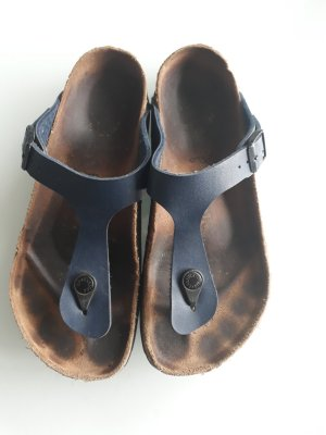 Birkenstock High-Heeled Toe-Post Sandals dark blue