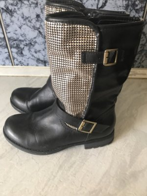 Biker Boots Pailletten Nieten Silber Schwarz