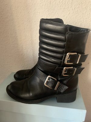 Biker Boots Stiefel Stiefelette schwarz Schnallen