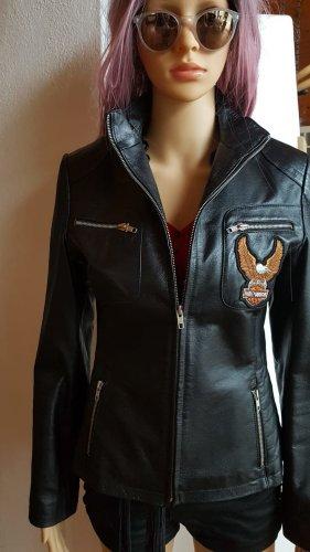 Biker Echtleder Lederjacke mit Harley Davidson Logo schwarz Gr. S