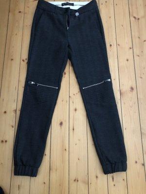 Mos Mosh Wełniane spodnie czarny-biały