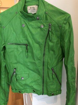 outerwear Chaqueta de cuero de imitación verde pradera
