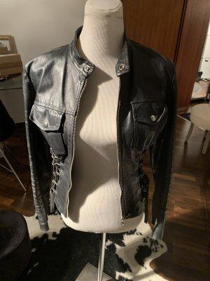 aus Italien Leather Jacket black