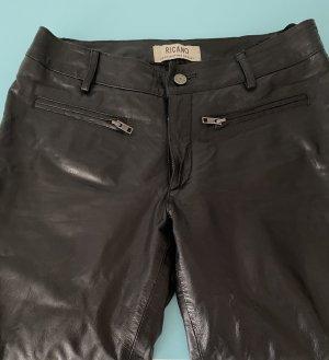 Ricano Pantalón de cuero negro
