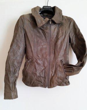 Goosecraft Giacca da motociclista marrone-grigio Pelle