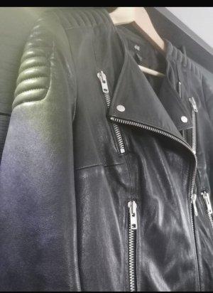H&M Premium Giacca da motociclista nero Pelle